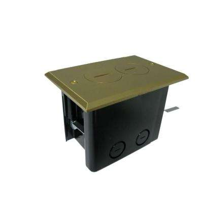 Duplex Device 24-1/2 cu. in. Old Work Rectangular Floor Box with Brass Cover