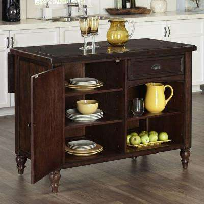48 in. W Country Comfort Kitchen Island in Aged Bourbon with Granite Top and 2-Stools