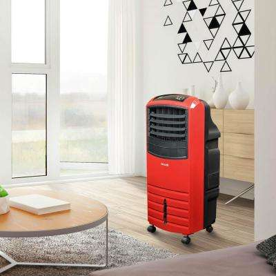 1000 CFM 3-Speed 2-In-1 Portable Evaporative Cooler (Swamp Cooler) and Fan 300 sq. ft. with Large Water Thank - Red