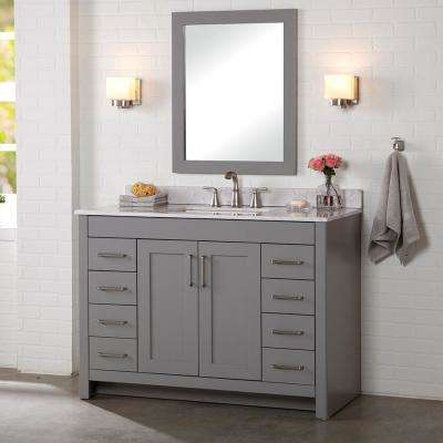Westcourt 49 in. W x 22 in. D Bath Vanity in Sterling Gray with Stone Effect Vanity Top in Pulsar with White Sink