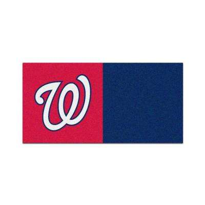 MLB - Washington Nationals Red and Navy Blue Nylon 18 in. x 18 in. Carpet Tile (20 Tiles/Case)