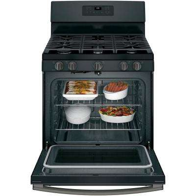 30 in. Free-Standing Gas Range in Black Slate, Fingerprint Resistant