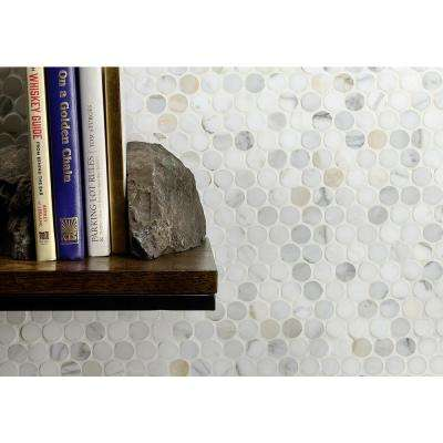 Calacatta Penny Round 11.25 in. x 12 in. 10mm Polished Marble Floor and Wall Mosaic Tile (0.94 sq.ft.)