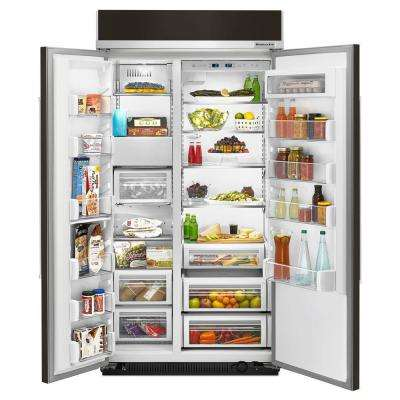 25.5 cu. ft. Built-In Side By Side Refrigerator in Black Stainless with PrintShield