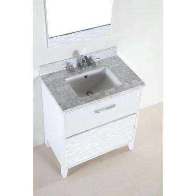 Tustin 30 in. W x 19 in. D x 34 in. H Single Vanity in White with Carrara Marble Vanity Top in White with White Basin