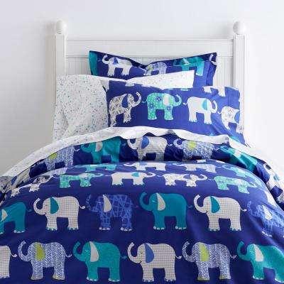 Elephant Parade 200-Thread Count Cotton Percale Duvet Cover