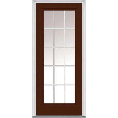 36 in. x 80 in. Classic Clear Glass GBG Full Lite Painted Fiberglass Smooth Prehung Front Door