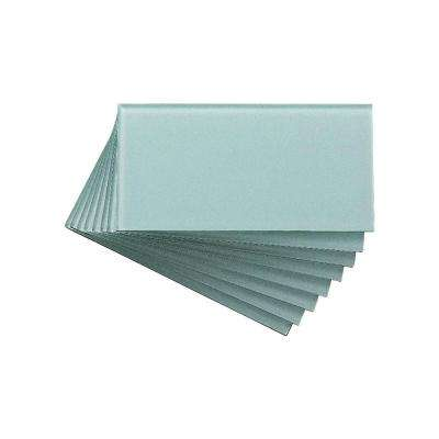 3 in. x 6 in. Glass Decorative Wall Tile in Morning Dew (8-Pack)