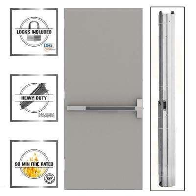 Flush Gray Steel Commercial Exit Unit with Hardware