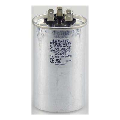 440-Volt 55/10 MFD Dual Rated Motor Run Round Capacitor