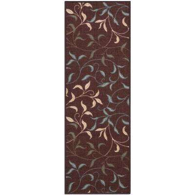 Ottohome Collection Contemporary Leaves Design Brown 2 ft. 7 in. x 9 ft. 10 in. Non-Skid Rug Runner
