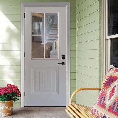 Premium 4 Lite Plank Panel Primed White Steel Prehung Front Door