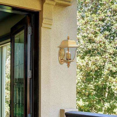 Gladiator 3-Light Polished Brass Outdoor Wall-Mount Lantern