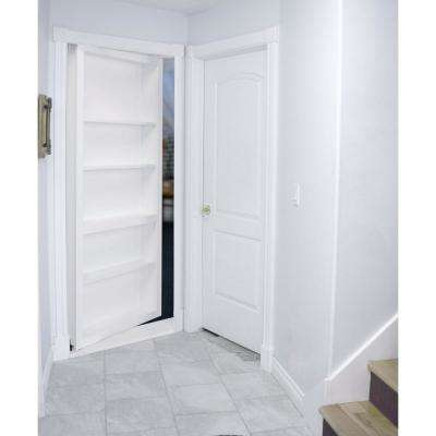30 in. x 80 in. Flush Mount Assembled Paint Grade White Right Hand Out-Swing Solid Core Interior Bookcase Door