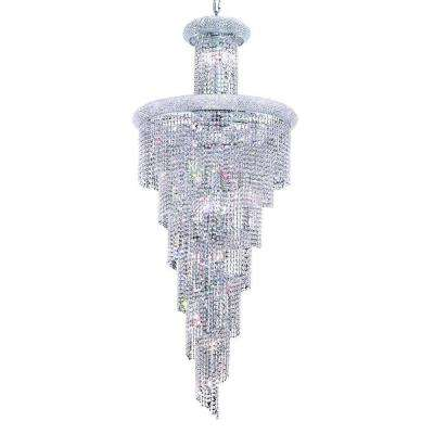 28-Light Chrome Chandelier with Clear Crystal