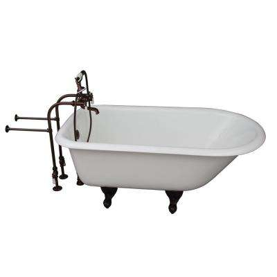 4.5 ft. Cast Iron Ball and Claw Fett Roll Top Tub in White with Oil Rubbed Bronze Accessories