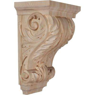 6-1/2 in. x 8-1/2 in. x 14 in. Unfinished Wood Alder Large Wide Acanthus Wood Corbel