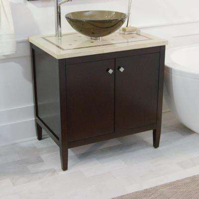 Argonne 31 in. W x 22 in. D Bath Vanity in Espresso with Marble Vanity Top in Brown with Glass Sink