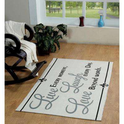 Live, Laugh, Love Printed Typography Cotton Natural 3 ft. x 5 ft. Area Rug