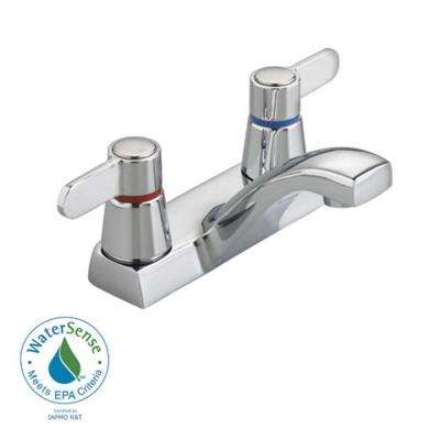 Heritage 4 in. 2-Handle Lavatory Faucet in Polished Chrome with Red and Blue Indexed Handles, Pop Up Drain