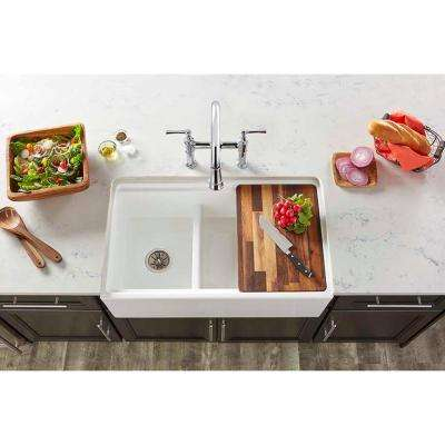 Farmhouse Apron Front Fireclay 33 in. Double Bowl Kitchen Sink in White with Aqua Divide
