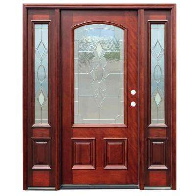 Traditional 3/4 Arch Lite Stained Mahogany Wood Prehung Front Door w/6 in. Wall Series & 14 in. Sidelites