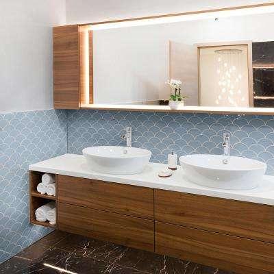 Beverly Blue Fan 8.75 in. x 13 in. x 8 mm Ceramic Mosaic Tile