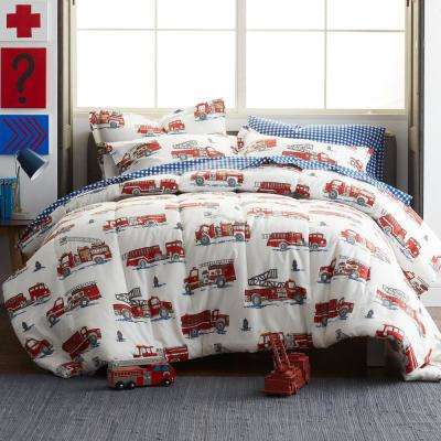 Fire Truck 200-Thread Count Cotton Percale Comforter
