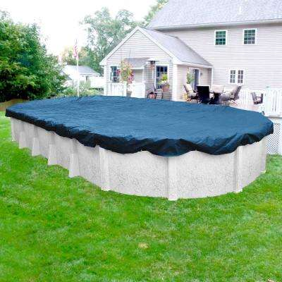 Heavy-Duty Oval Imperial Blue Winter Pool Cover