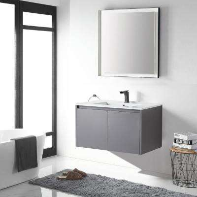 18 in. W x 19 in. D x 35 in. H Rock Gray Wall-Mounted Single Bathroom Vanity with Vanity Top in White with White Basin