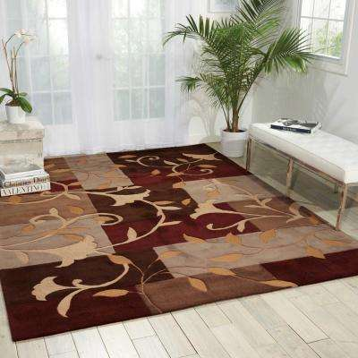 Graphic Floral Mocca 7 ft. x 9 ft. Area Rug
