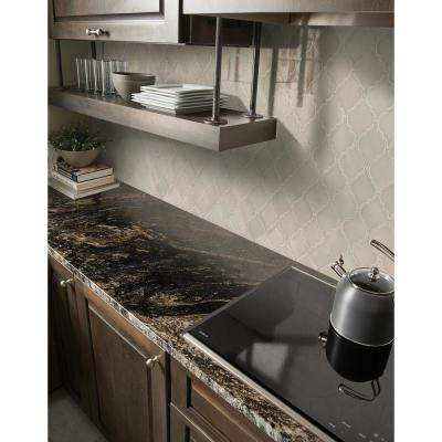 Portico Pearl Arabesque 10.83 in. x 15.5 in. x 8mm Glossy Ceramic Mesh-Mounted Mosaic Tile (11.7 sq. ft. / case)