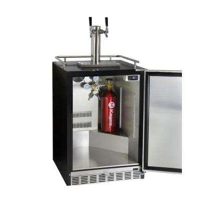 Digital Undercounter Full Size Beer Keg Dispenser with X-CLUSIVE Dual Tap Premium Direct Draw Kit Left Hinge