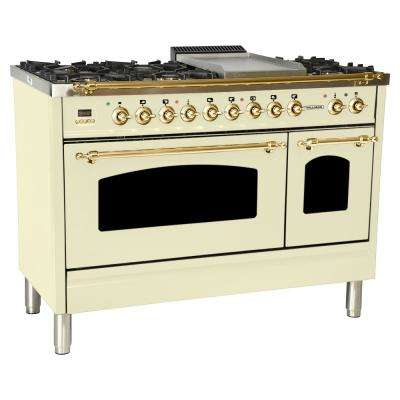 48 in. 5.0 cu. ft. Double Oven Dual Fuel Italian Range with True Convection 7-Burners and Griddle in Antique White