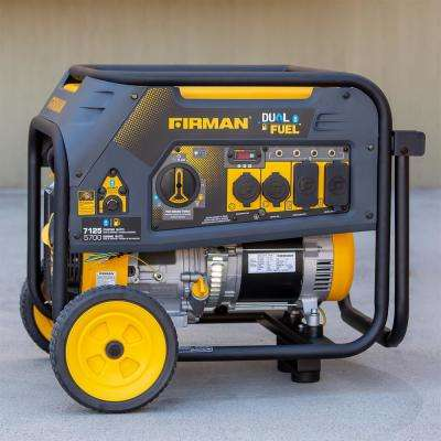 7125/5700-Watt 120/240V Recoil Start Gas or Propane Dual Fuel Portable Generator CARB Certified With Wheel Kit