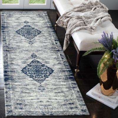 Jewel Ornament Medallion Distressed Navy 3 ft. x 7 ft. Indoor Runner Rug