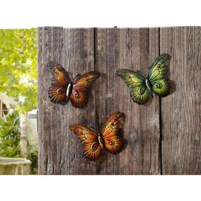Colorful Butterfly Metal Scroll Wall Art (Set of 3)