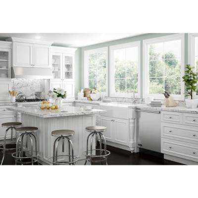 Coventry Assembled 24 x 84 x 24 in. Pantry/Utility 2 Double Door & 4 Rollout Trays Kitchen Cabinet in Pacific White
