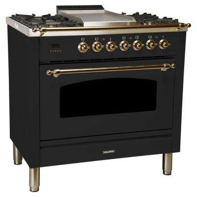 36 in. 3.55 cu. ft. Single Oven Italian Gas Range True Convection, 5 Burners, Griddle, LP Gas, Bronze Trim/Glossy Black