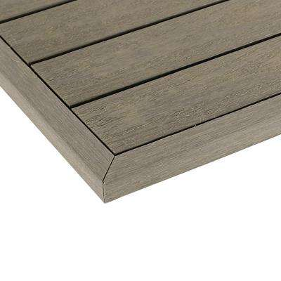 1/6 ft. x 13.95 in. Quick Deck Composite Deck Tile Outside End Corner Fascia in Egyptian Stone Gray (2-Pieces/box)
