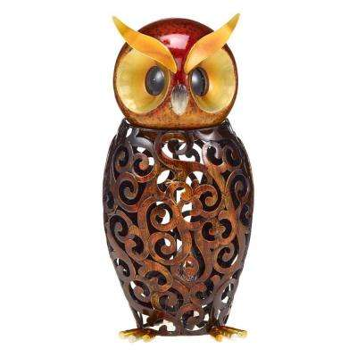 6 in. Lighted Nightlite Hand Crafted Bronze Metal Owl Luminary Table Lamp