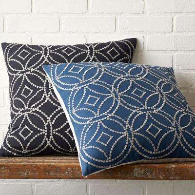Geometric Embroidered 20 in. x 20 in. Pillow Cover