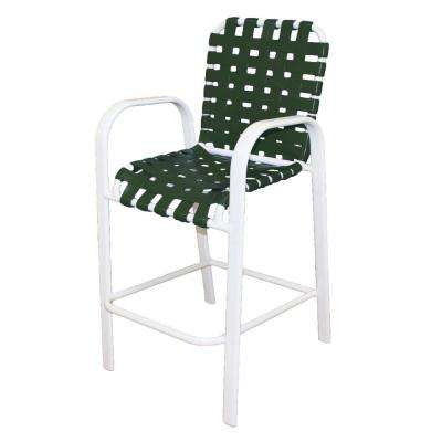 Marco Island White Commercial Grade Aluminum Bar Height Patio Dining Chair with Green Cross Vinyl Straps