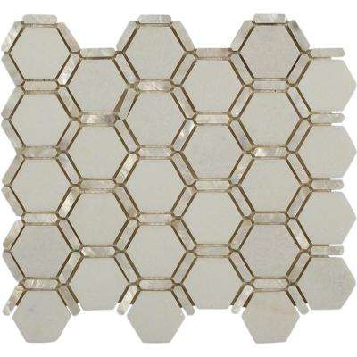 Ambrosia White Thassos Pearl and Marble Tile - 3 in. x 6 in. Tile Sample