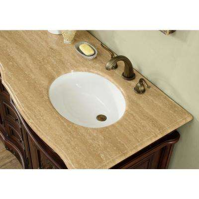 60 in W. Saturn Double Sink Bath Vanity in Dark Cherry with Marble Vanity Top in Travertine with White Basin