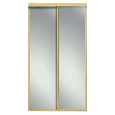 Charming Concord Bright Gold Aluminum Framed Mirror Interior Sliding Door