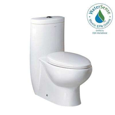 Delphinus 1-piece 0.8 / 16 GPF Dual Flush Elongated Toilet in White