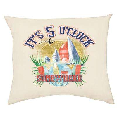 It's 5 O'Clock Somewhere Square Outdoor Throw Pillows