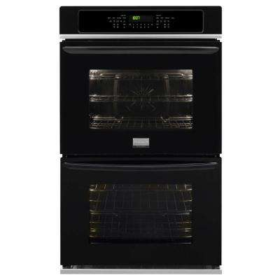 27 in. Double Electric Wall Oven Self-Cleaning with Convection in Black