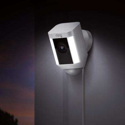 Spotlight Cam Wired Outdoor Security Camera White with Chime Pro